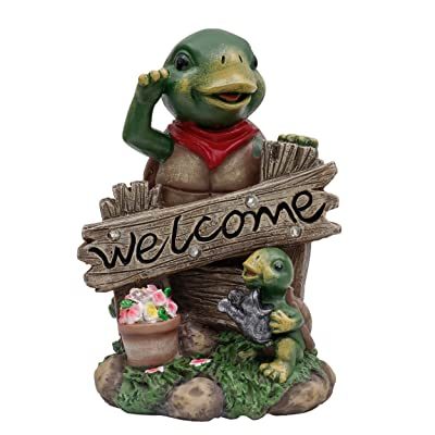 TERESA'S COLLECTIONS 7.5 Inch Adorable Turtle Welcome Sign Garden Statues with Solar Powered Garden Lights, Garden Figurines for Family Spring Summer Outdoor Patio Yard Decorations (Resin) : Garden & Outdoor