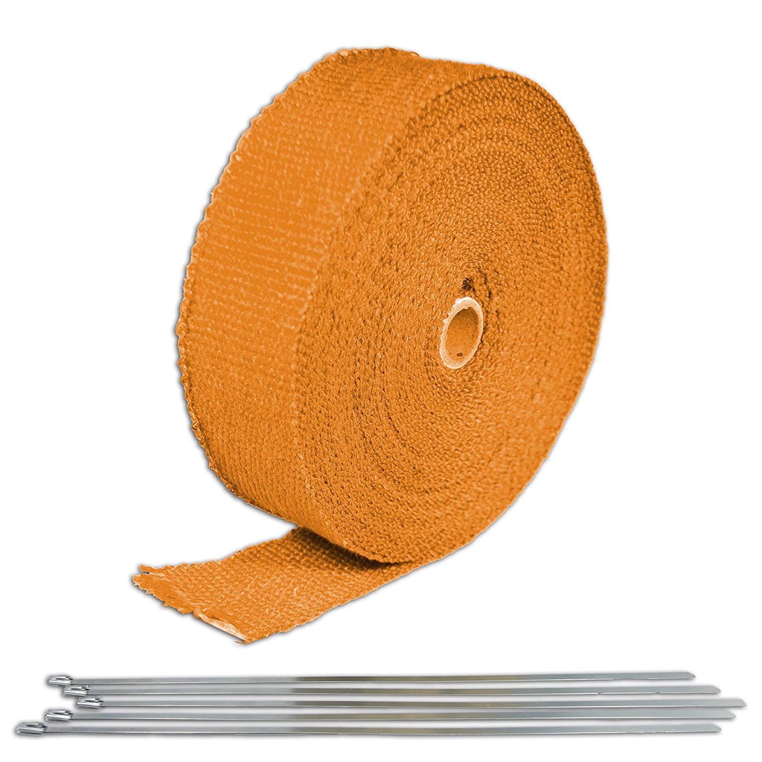 Orange Turbo Manifold Heat Exhaust Thermal Wrap Tape /& Stainless Ties 2X50 Q1 for Can-Am Commander 1000