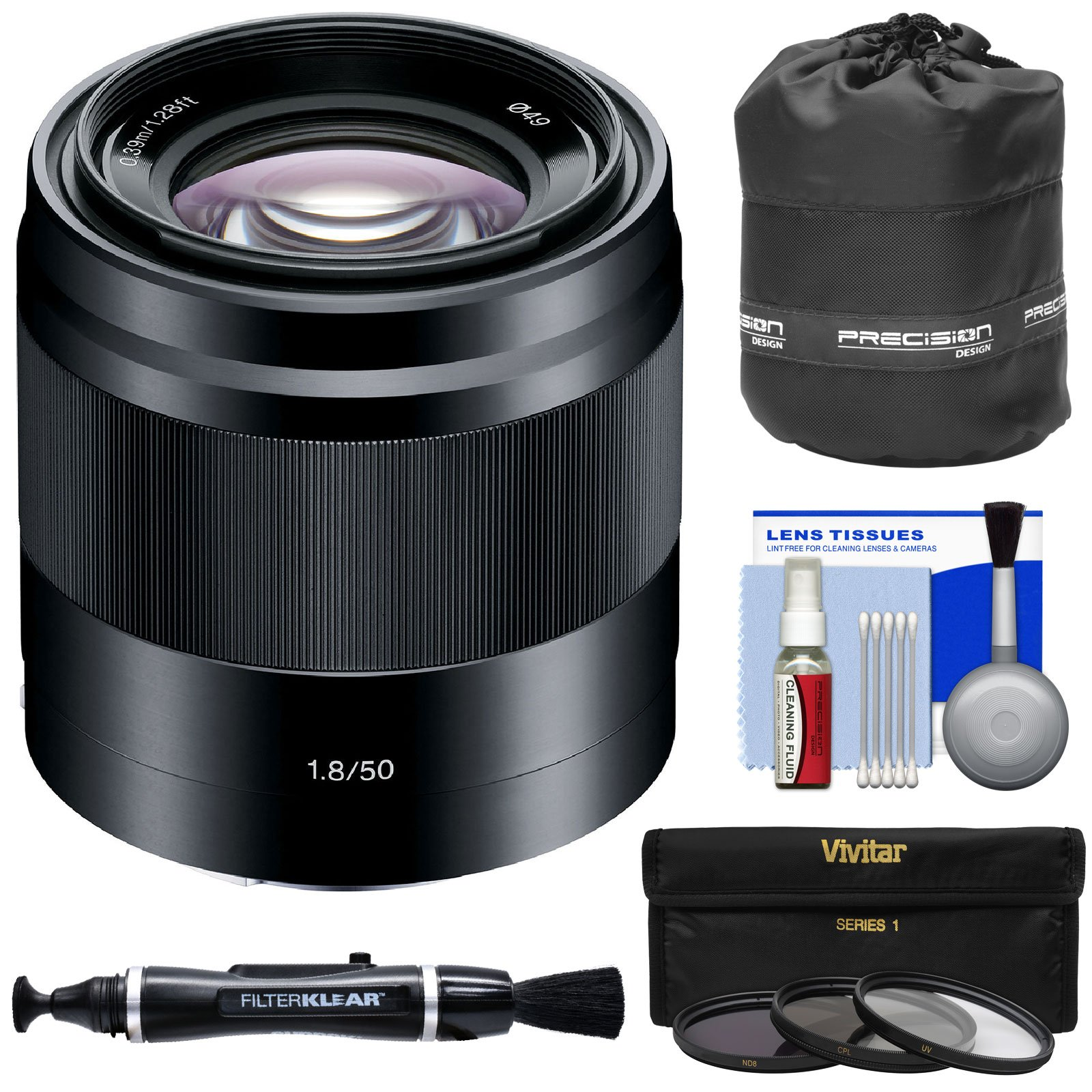 Sony Alpha E-Mount 50mm f/1.8 OSS Lens (Black) with 3 UV/CPL/ND8 Filters + Pouch + Kit