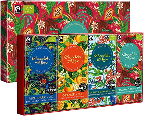 Chocolate And Love Chocolate And Love Organic 4 Pieces Creamy Dark Chocolate In Gift Box