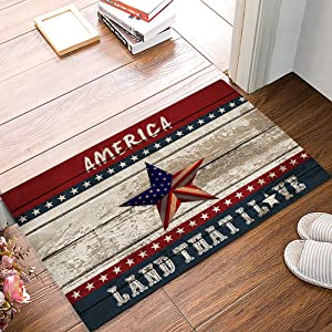 "American Flag Indoor Doormat Front Door Mat, Fourth of July Independence Day American Pentagram on Wooden Planks Welcome Mat Entrance Door Mat Non-Slip Floor Mat, Soft and Low Profile (16"" x 24"")"