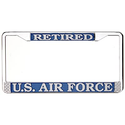 TAG FRAMES (MILITARY) US Air Force Retired License Plate Frame (Chrome Metal): Automotive