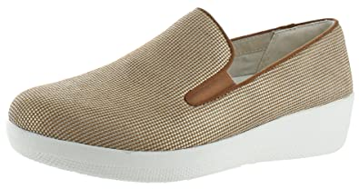2cc0fbdf74be2 FitFlop Womens Superskate Houndstooth Print Suede Loafers Pale Gold Urban  White Slip-On -