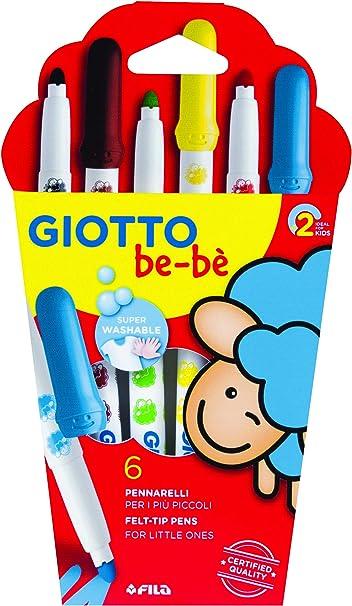 Giotto be-bè 466600 - Estuche 6 rotuladores súper lavables, (punta bloqueada, tapón ventilado y capuchón posterior de seguridad): Amazon.es: Oficina y papelería