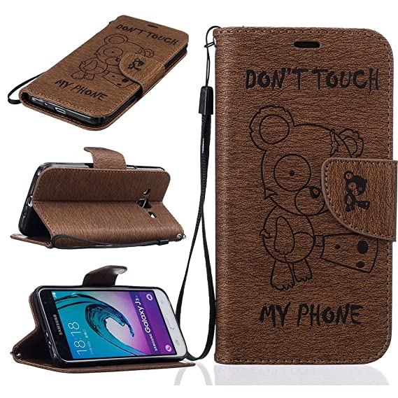 Amazon.com: Samsung Galaxy J3 / J3 (2016) Case, SATURCASE Knife Bear Embossed PU Leather Flip Magnet Wallet Stand Card Slots Protective Case Cover for ...