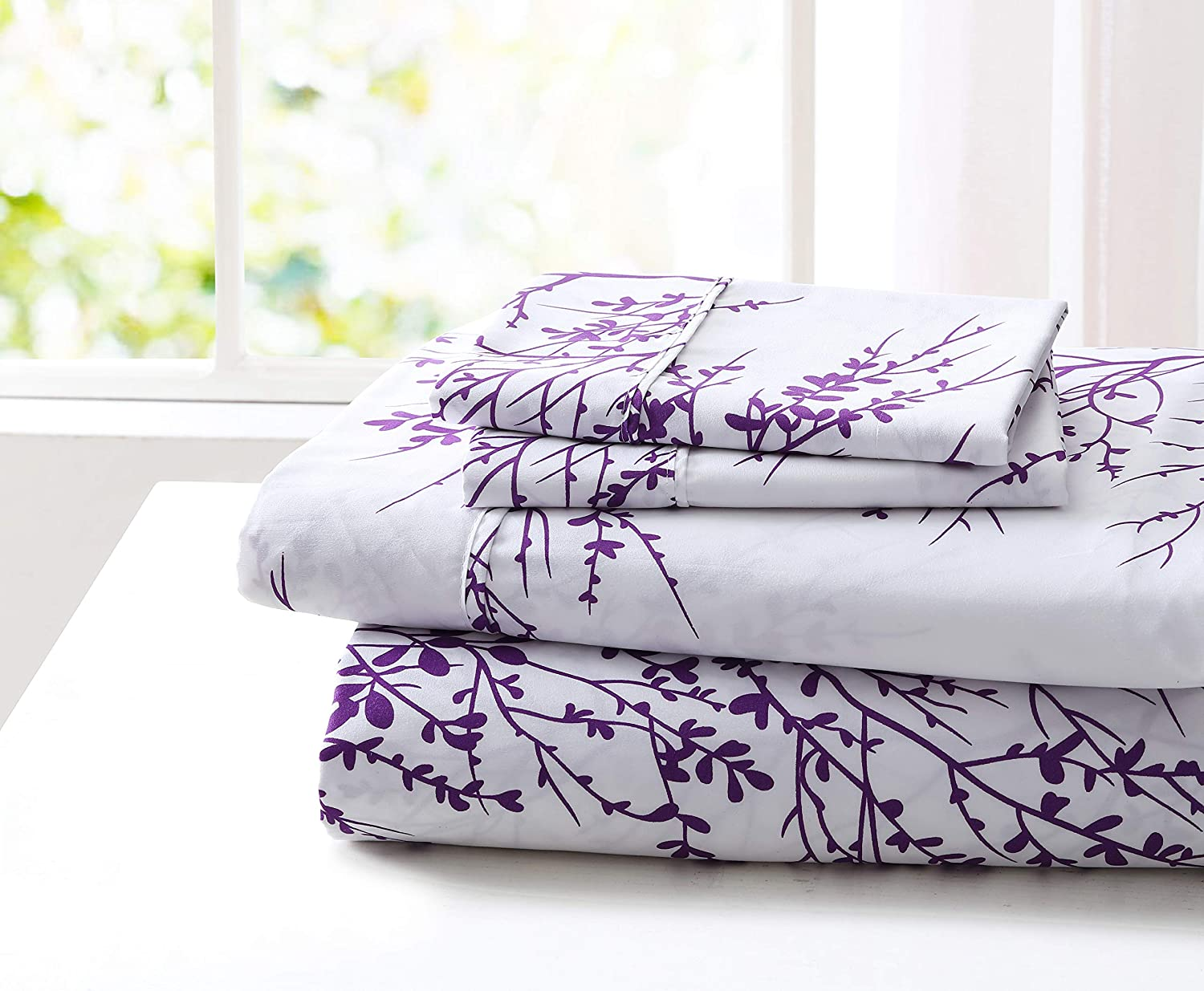 Spirit Linen Home 4pc Bed Sheets Set Printed Beautiful Foliage Design 1800 Bedding Soft Microfiber Sheet with Fitted Sheet and Pillowcases (Full, Purple White)