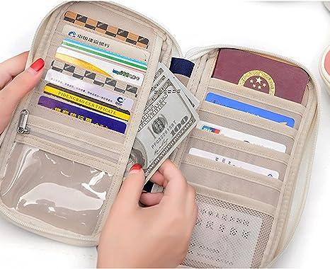 Elonglin Portefeuille Passeport Pochette Organisateur de Voyage tui de Protection Passeport Pice didentit Carte Voyageur avec Billets Porte-Monnaie de Blocage Document Oxford Impermable