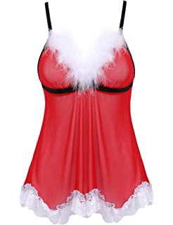 33979886f3ec5 Amorbella Women s Sexy Santa Christmas Lingerie Set Outfits Lace Babydoll  Teddy Nighties