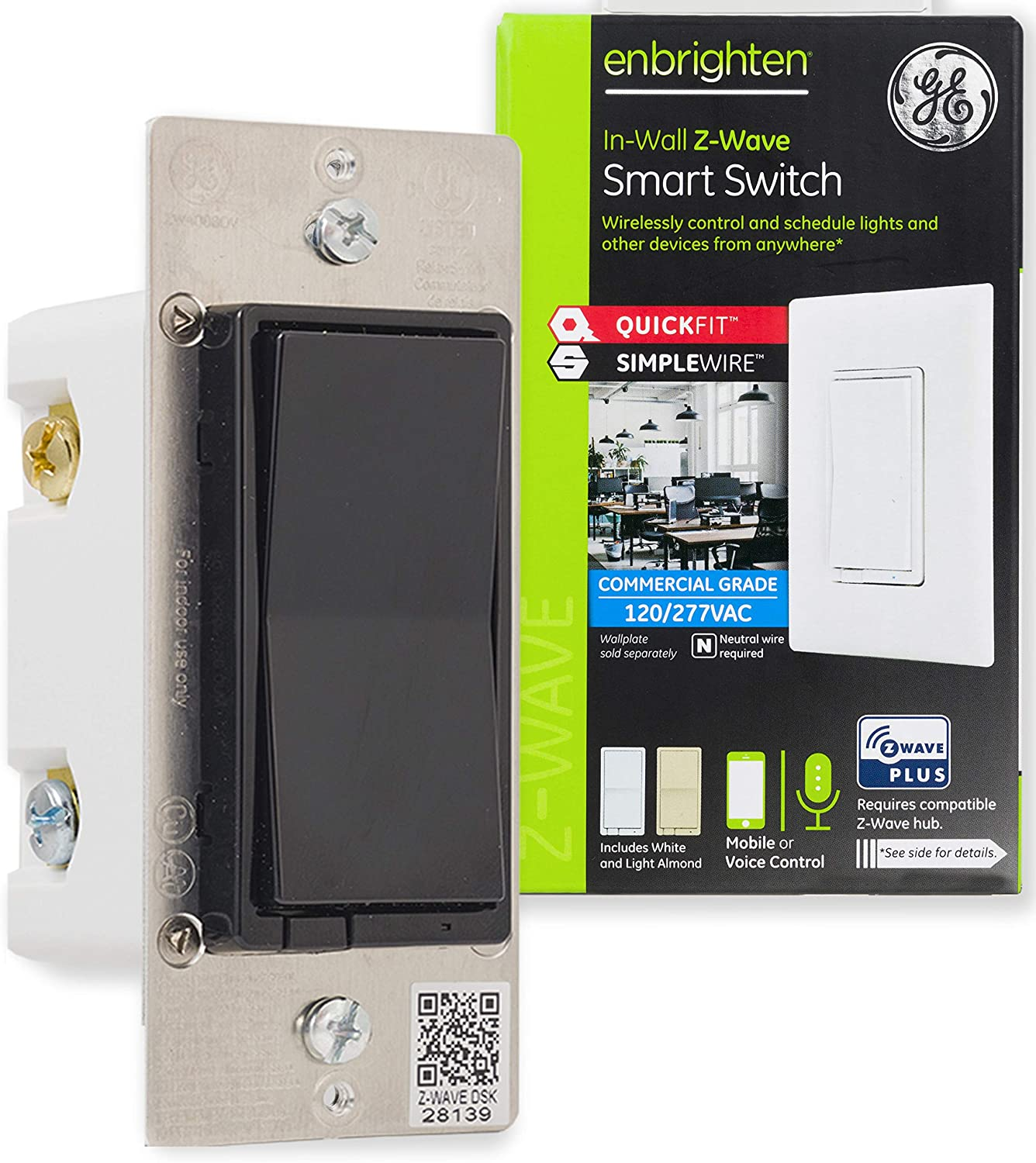 GE Enbrighten Z-Wave Plus Smart Light Switch, QuickFit & SimpleWire, Commercial 120/277VAC, Works with Alexa, Google Assistant, ZWave Hub & Neutral Wire Required, Black, 49184