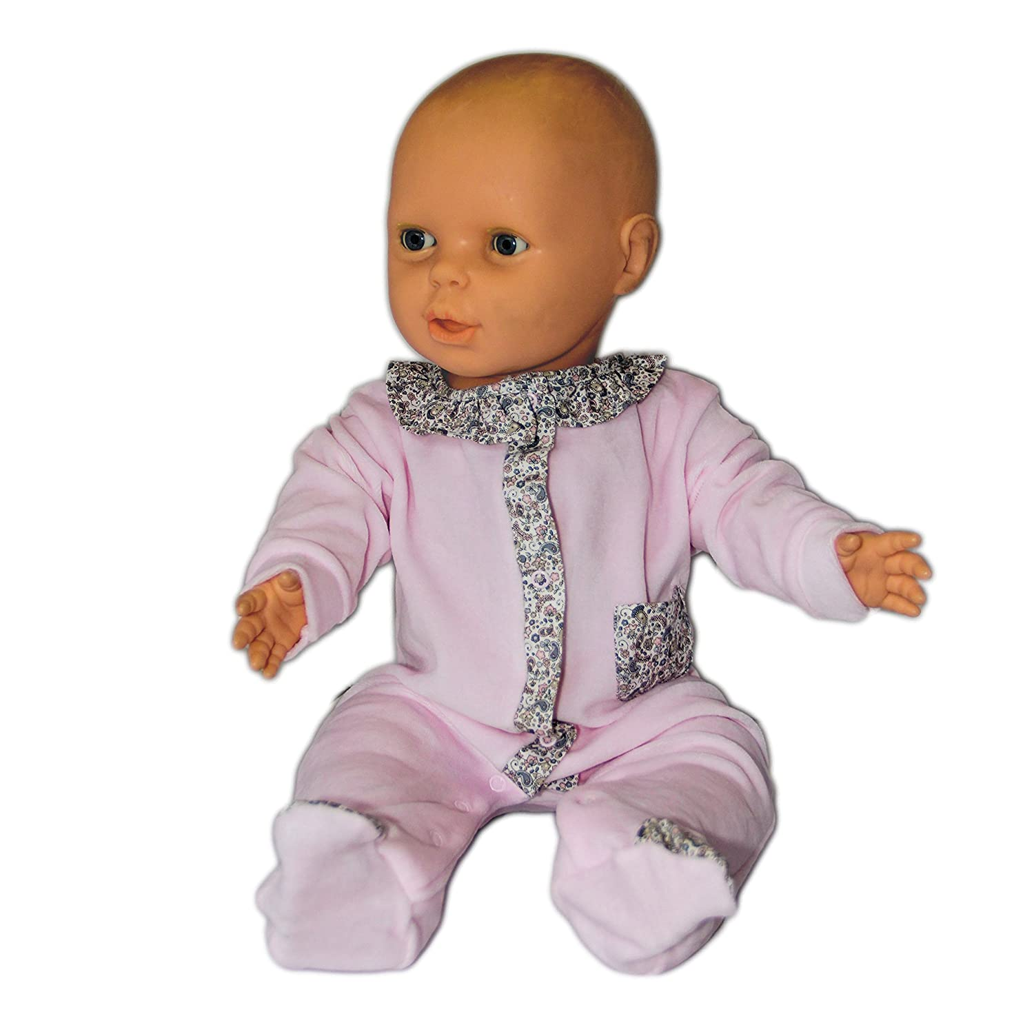 Newborn Baby Girls Cotton Velour Footie Pajamas Sleeper Babysuit Babygrow Push2Posh MN5092VAR