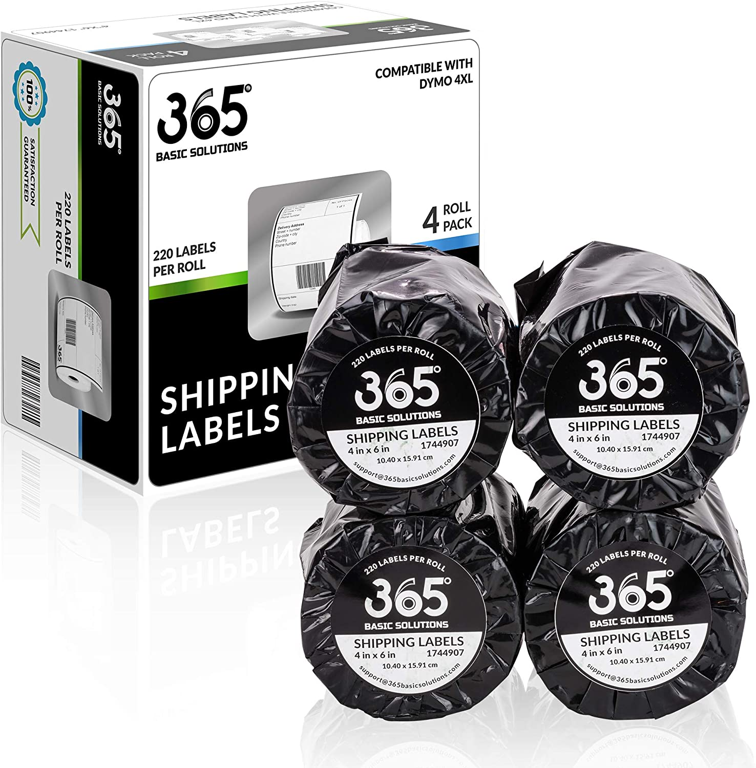 """365 Basic Solutions 1744907 Shipping Labels Dymo Compatible, 4""""x6"""" - 4 x 220 Label Rolls (880 Labels) - Perforated, Strong Adhesive, Smudge Free, Clear Printing Dymo Compatible Thermal Label Paper"""