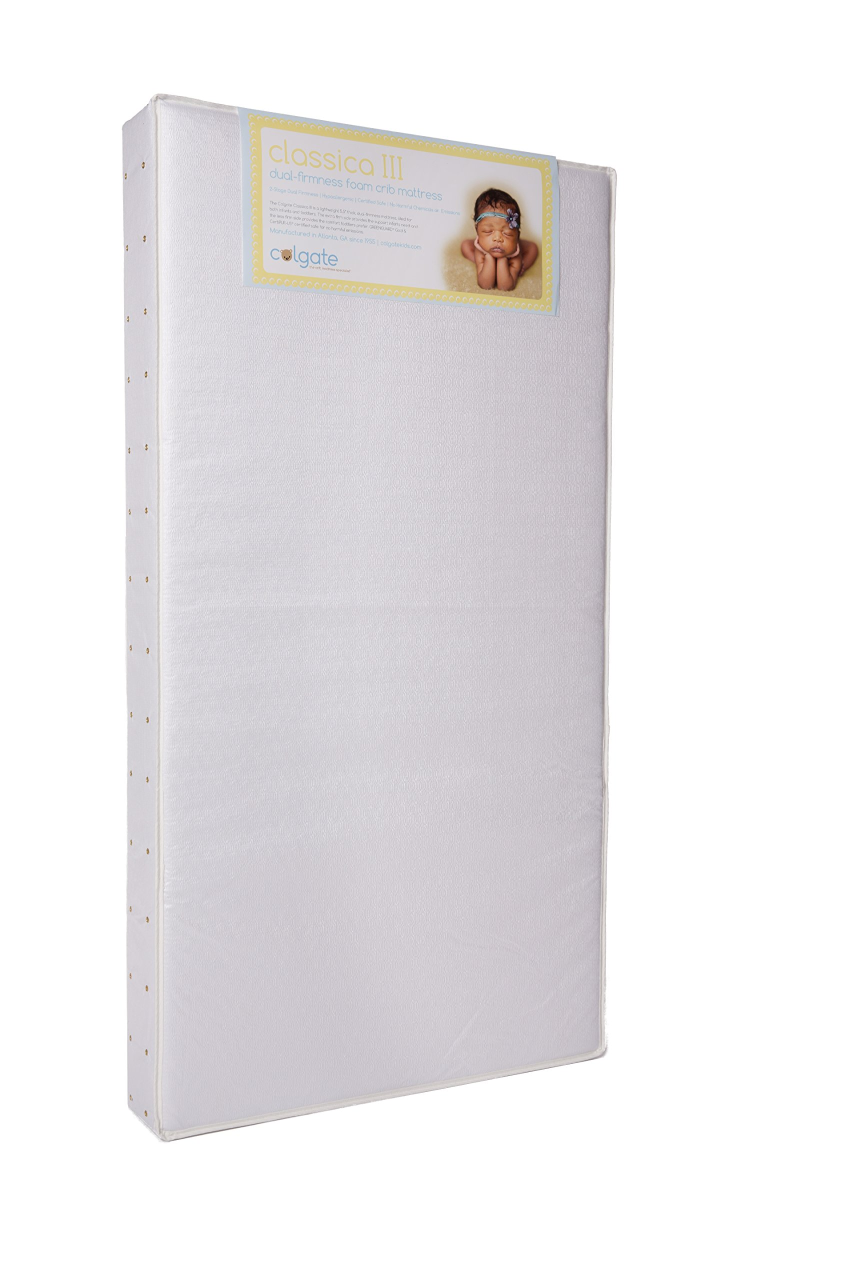 Colgate Classica III - Foam Crib and Toddler Mattress with Waterproof Cover, White