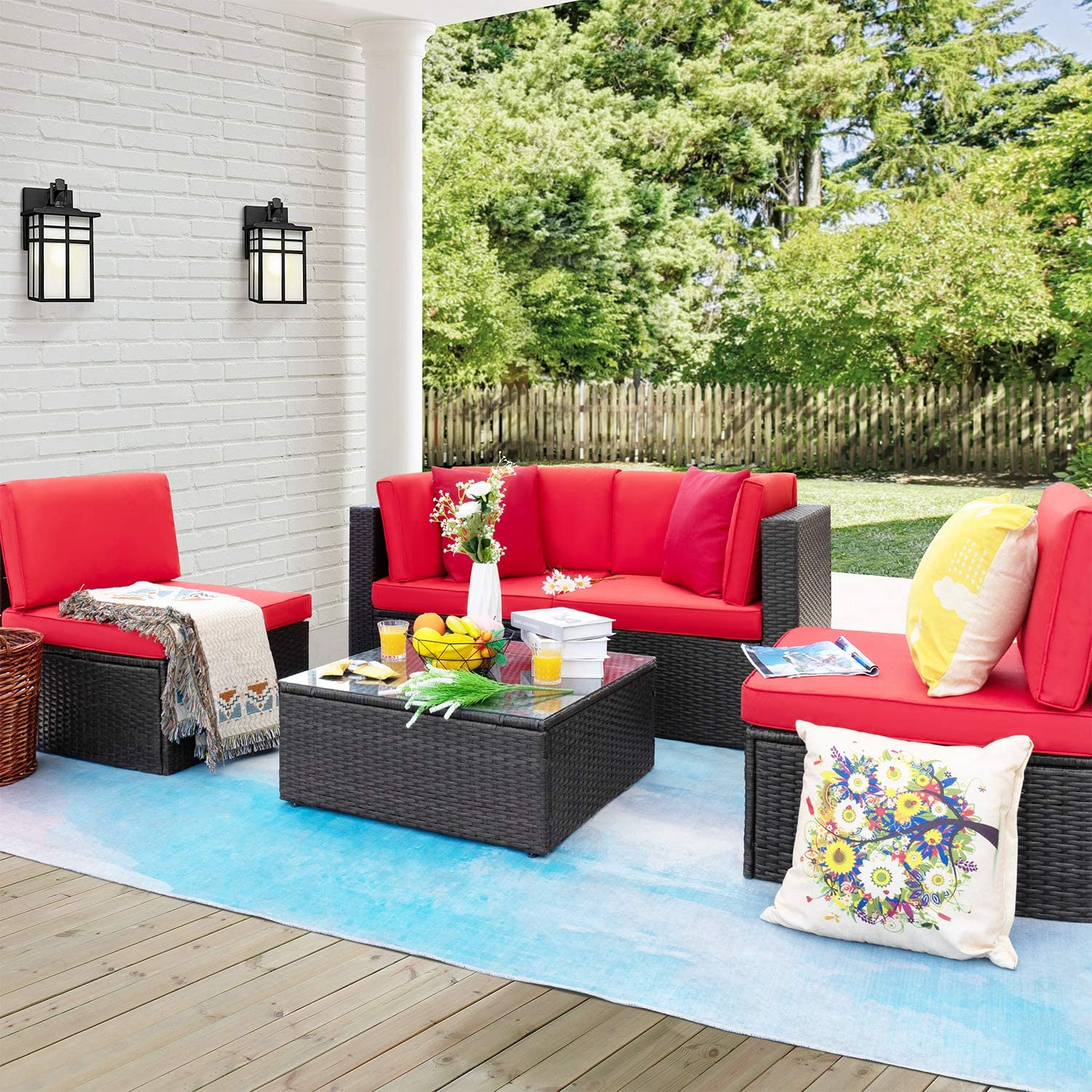 Furniwell 5 Pieces Patio Furniture Sectional Set Outdoor Wicker Rattan Sofa Set Backyard Couch Conversation Sets with Pillow Cushions and Glass Table (Red)
