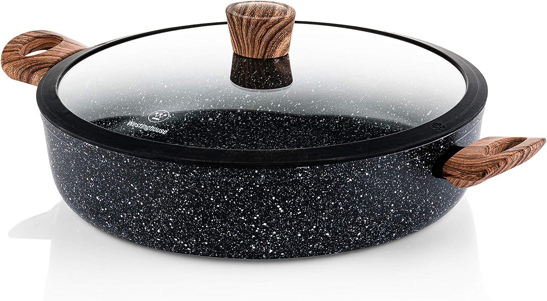 Westinghouse Cacerola Baja Granito Gris 28 cm Sarten Antiadherente Inducci/ón con Tapa de Cristal