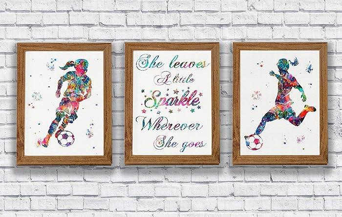 Amazon Soccer Girl Watercolor Posters Sports Art Prints Wall
