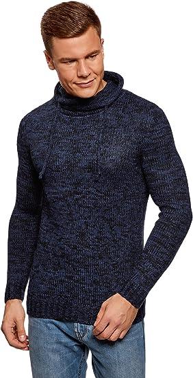 oodji Ultra Hombre Jersey con Cuello Voluminoso con Cordones