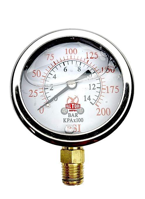 Lower Side Mount 2-1//2 Oil Filled Pressure Gauge Brass 1//4 NPT 0-300PSI Stainless Steel Case