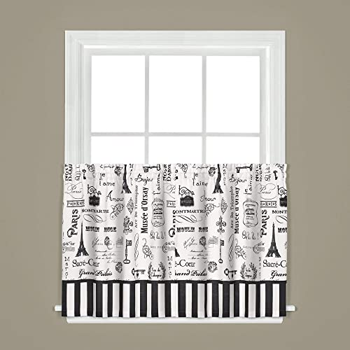SKL Home by Saturday Knight Ltd. Le Paris Curtain Tier Pair, 57 Inches x 36 Inches, Natural