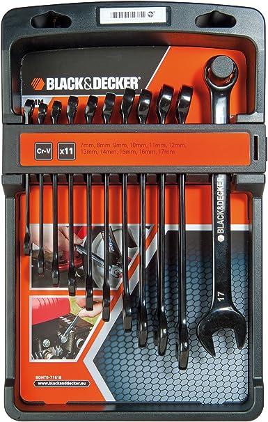 Black+Decker BDHT0-71618 - Juego de 11 llaves combinadas en cromo vanadio: Amazon.es: Bricolaje y herramientas