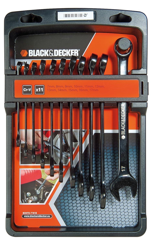 Black+Decker BDHT0-71618 - Juego de 11 llaves combinadas en negro cromo vanadio Black&Decker