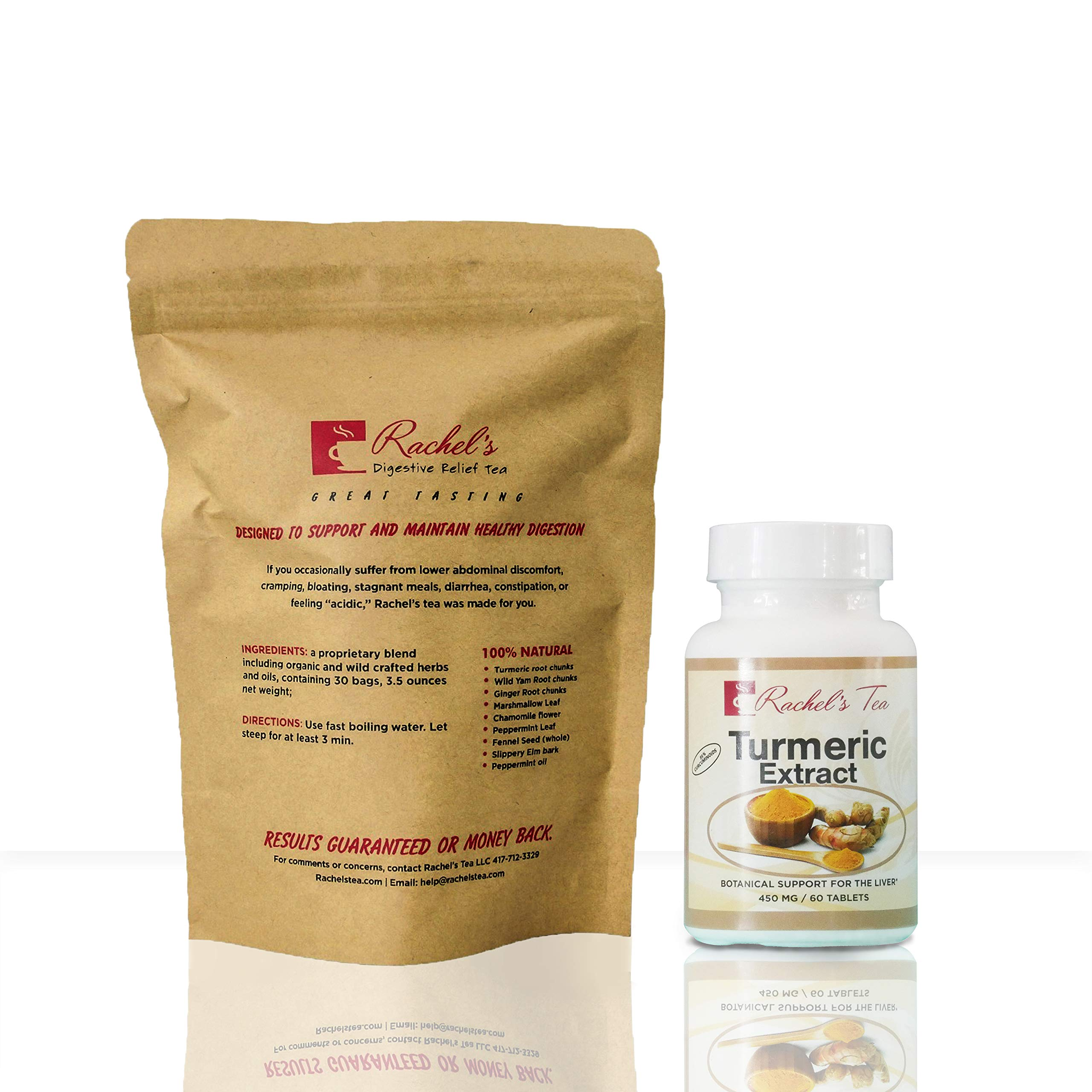 Rachel's Digestive Relief Tea with Turmeric and curcuminoid and Bioperene for absorption soothes digestion, designed for inflammation and digestive comfort