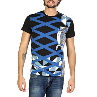 1f5eb612 Versace Jeans Men's Short Sleeve t-Shirt Crew Neckline Jumper Black:  Amazon.co.uk: Clothing