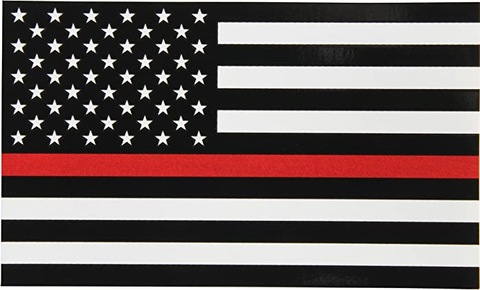 Thin Red Line Flag Decal - 3x5 in. Black White and Red American Flag Sticker for Cars Trucks and SUVs - In Support of Firefighters and EMTs (1-Pack)
