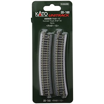 "Kato USA Model Train Products Unitrack, 481mm (19"") Radius 15-Degree Curve Track (4-Piece): Toys & Games"