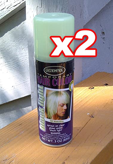 71e28a532f9 Amazon.com   Qty 2 - Temporary Hair Color Hairspray Black Light UV Reactive Colored  Hairspray Great For Costume or Halloween Rave Party Concert Hair Spray ...