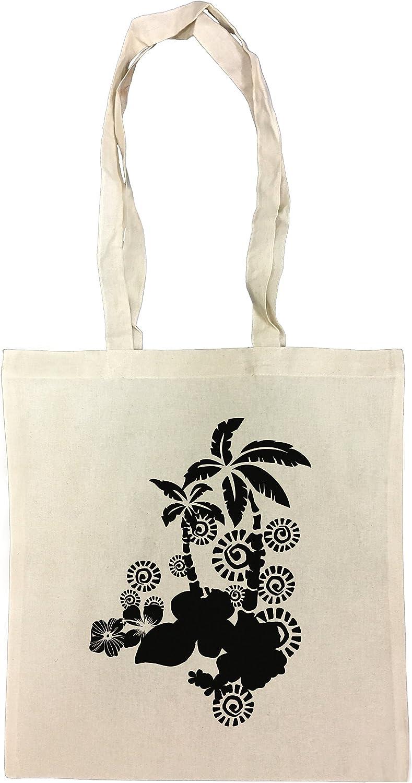 Palmas negras Bolsa De Compras Playa De Algodón Reutilizable Shopping Bag Beach: Amazon.es: Hogar