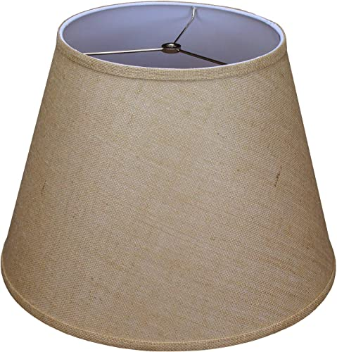 FenchelShades.com Lampshade 11 Top Diameter x 18 Bottom Diameter x 13 Slant Height with Washer Spider Attachment. for Use on Lamps with Harps Burlap Natural