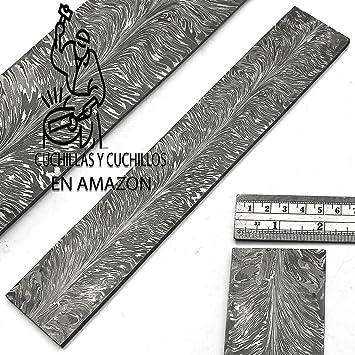 Barra de acero para hacer cuchillos con patrón de plumas de ...