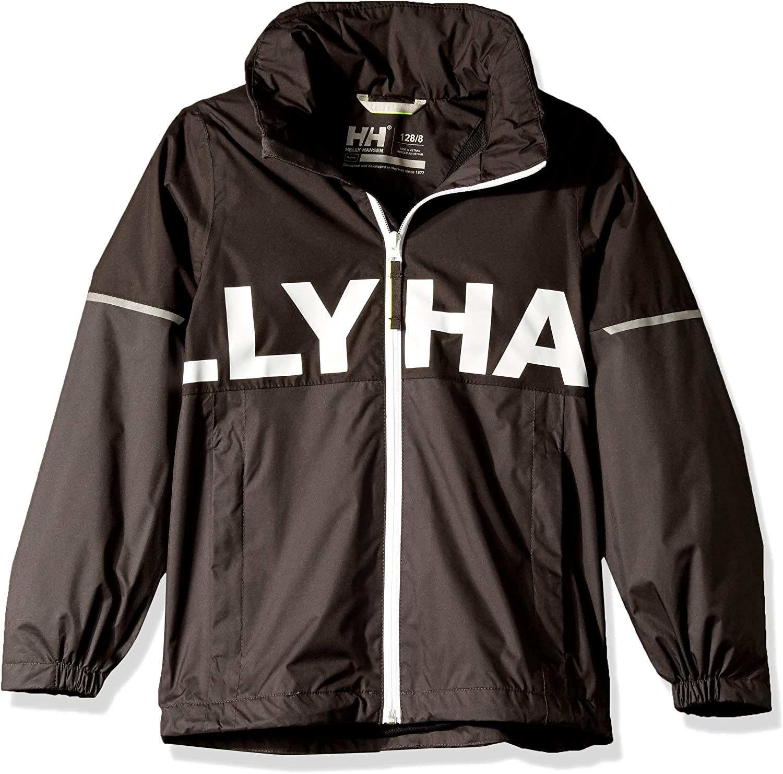 12 Black Helly Hansen Kids /& Baby Jr Block It Waterproof Rain Jacket with Hood