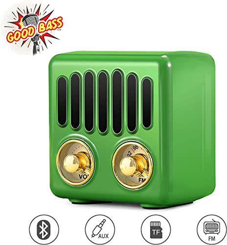 Vintage Radio, Retro Bluetooth Speaker, Greadio FM Radio with Bluetooth 4.2, Old Fashioned Classic Style, Good Bass Enhancement, Loud Volume, TF Card AUX, Portable for Home, Office, Kitchen Green