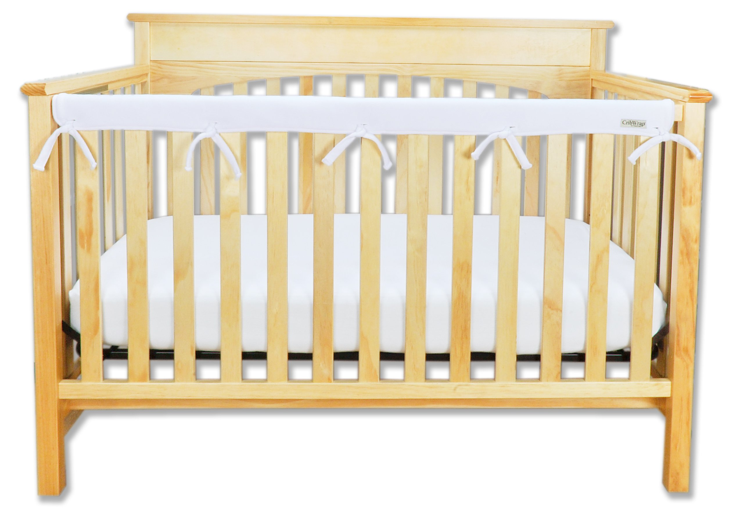 "Trend Lab Fleece CribWrap Rail Cover for Long Rail, White, Narrow for Crib Rails Measuring up to 8"" Around!"