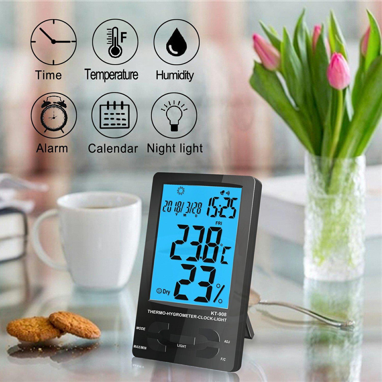 Termómetro Higrómetro Digital Interior Exterior, Medidor Temperatura y Humedad, Función de Memoria, Grabadora de Max/Min