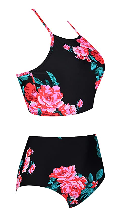 308c6d1c95f Amazon.com: Fancyskin Women's Two Piece Swimsuit Retro Strappy Banded Crop  Top High Waisted Floral Bikini Set Beathing Suit: Clothing
