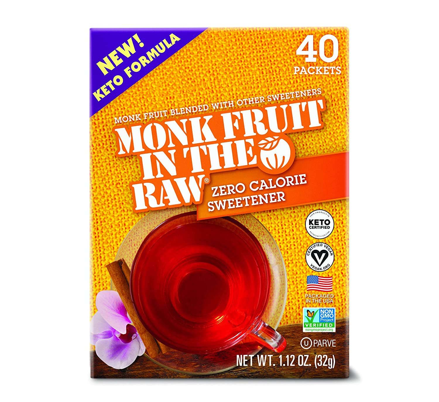 MONK FRUIT IN THE RAW, Keto-Certified Zero Calorie Sweetener Packets 40 Count Box (1 Pack)
