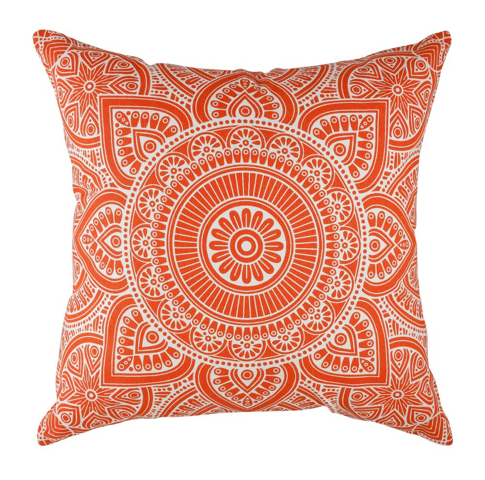 TreeWool Decorative Square Throw Pillowcases Set Mandala Accent 100% Cotton Cushion Cases Pillow Covers (20 x 20 Inches / 50 x 50 cm; Orange in Cream ...