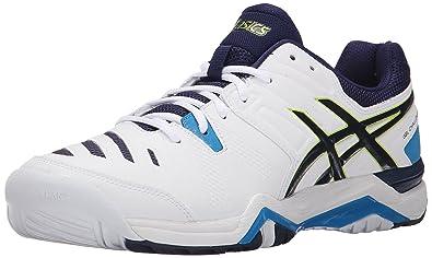 ASICS Men's GEL-Challenger 10 Tennis Shoe, White/Lime/Indigo Blue,