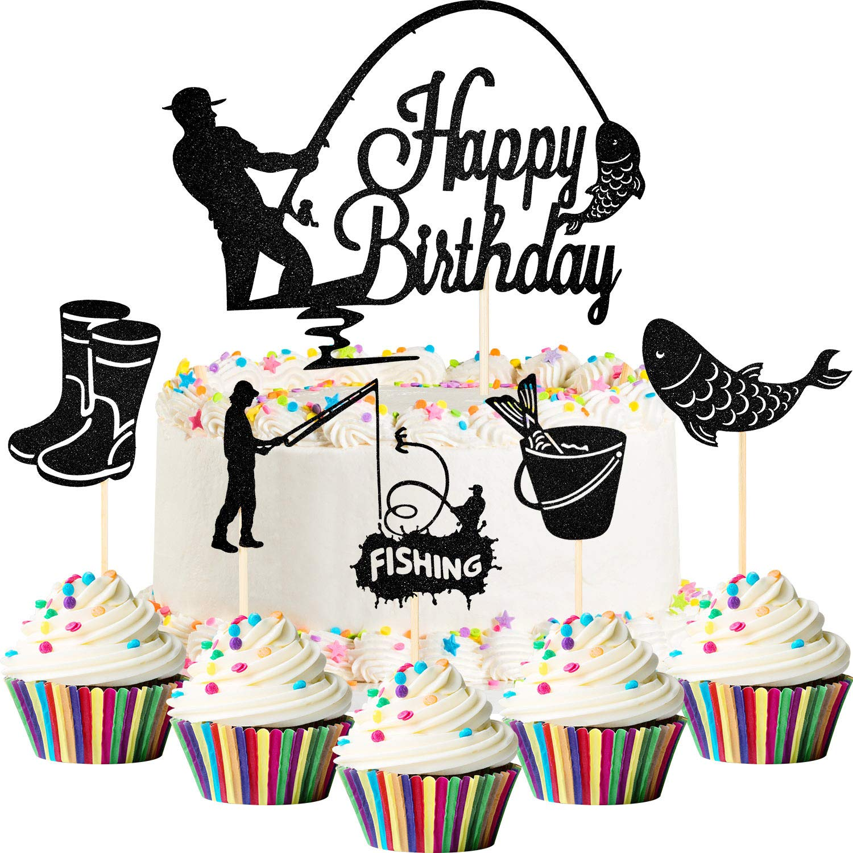 41 Pieces Gone Fishing Cupcake Topper Happy Birthday Cake Topper Fisherman Cake Decoration Fish Topper Picks Glitter for Men Boy Birthday Fishing Theme Party Supplies (Black)