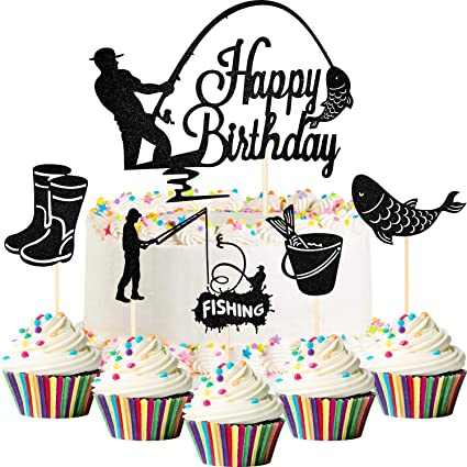 Birthday Party Decorations Happy Birthday Cupcake Toppers Happy Birthday Cake Topper Glitter Cake Topper