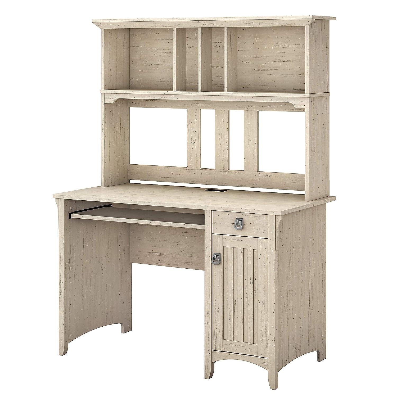 Bush Furniture Salinas Mission Desk and Hutch in Antique White