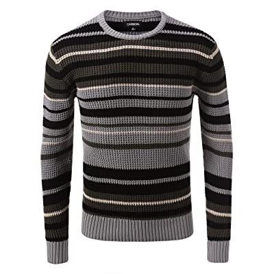 7 Encounter Rue 21 Carbon Stripe Cable Knit Sweater at Men's Clothing store