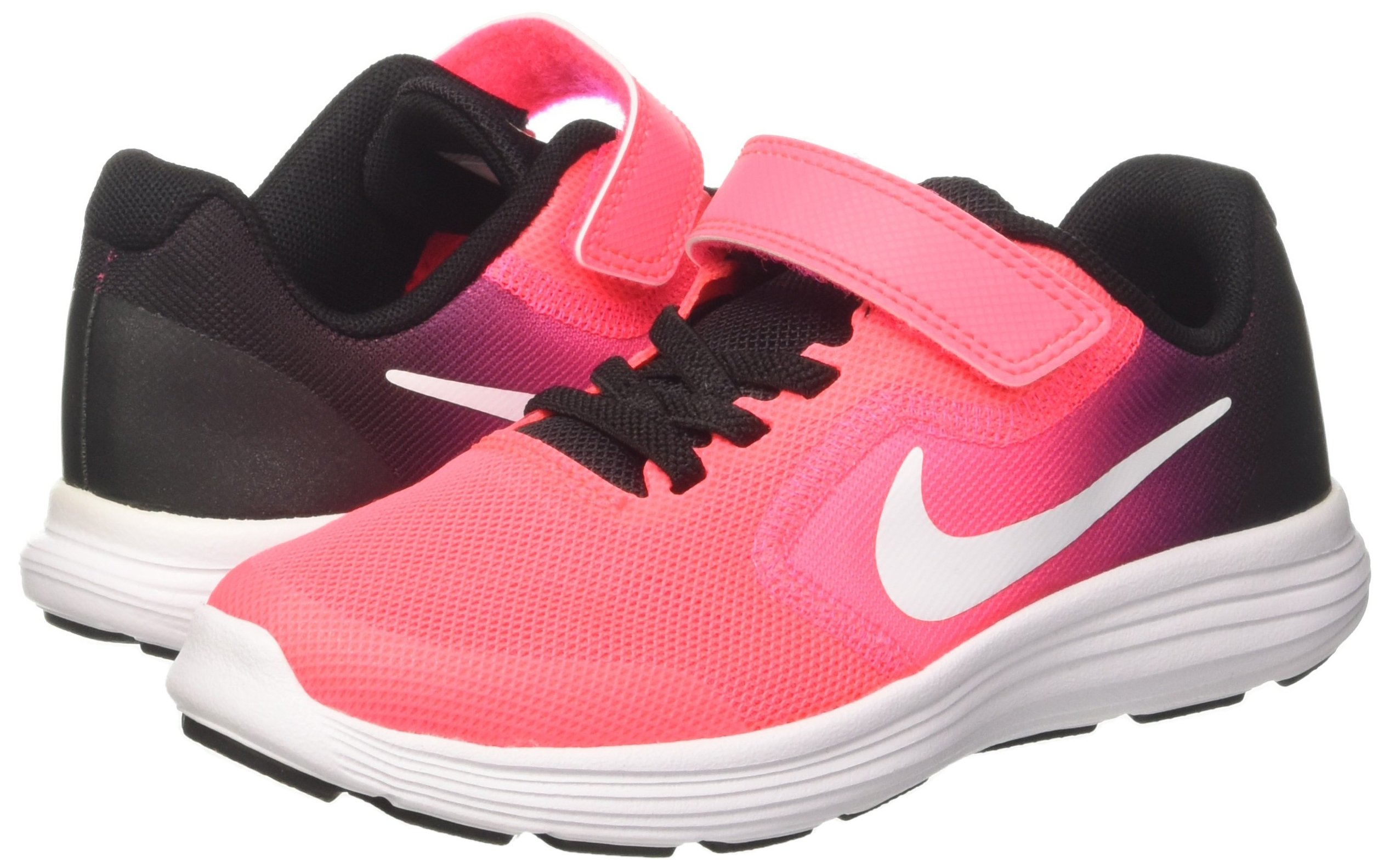 NIKE Kids' Revolution 3 (Psv) Running-Shoes, Black/White/Racer Pink/Black, 1 M US Little Kid by Nike (Image #5)
