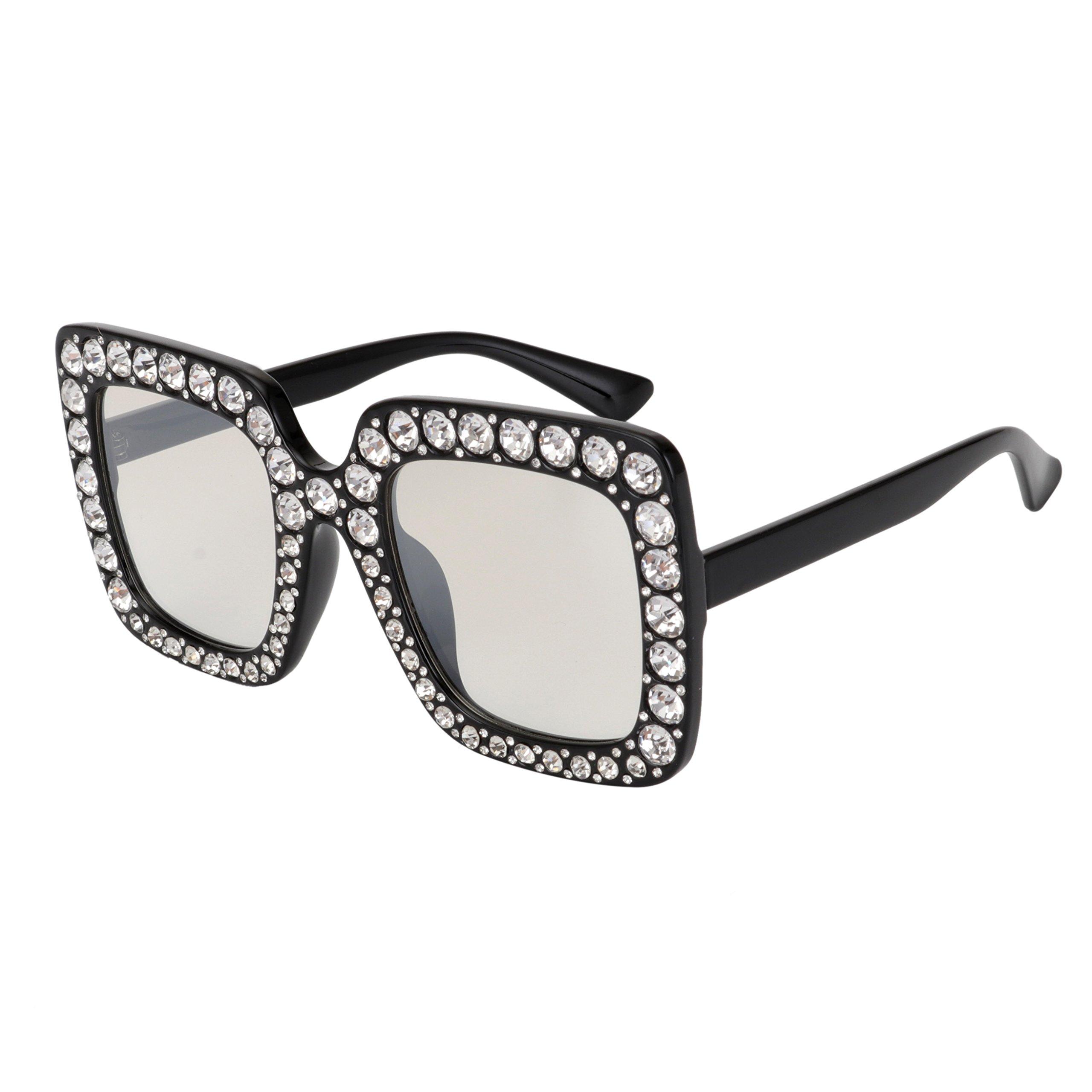 de69ae7f79 Galleon - ROYAL GIRL Sunglasses For Women Oversized Square Luxury Crystal  Frame Brand Designer Fashion Glasses (Black-Clear