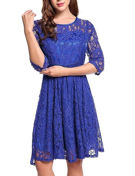 Meaneor Vestidos para Mujer de Encaje Elegante Dobladillo Plisadode de Fiesta Azul M