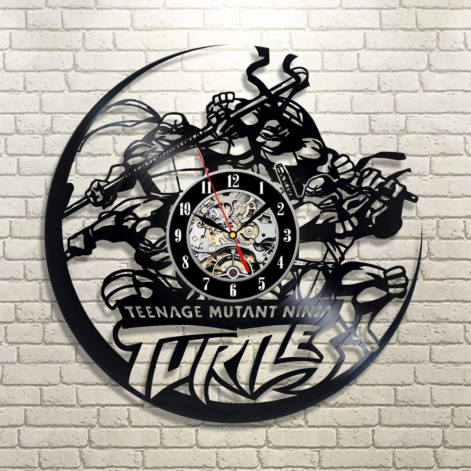 Wood Crafty Shop Teenage Mutant Ninja Turtles Vinyl Record Wall Clock Gift for Him and Her Unique Wall Decor The Best Gift Idea for Any Event Birthday Gift, Wedding Gift