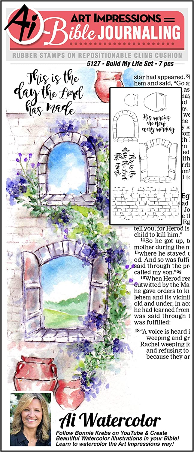 Art Impressions Bible Journaling Watercolor Rubber Stamps-Build My Life