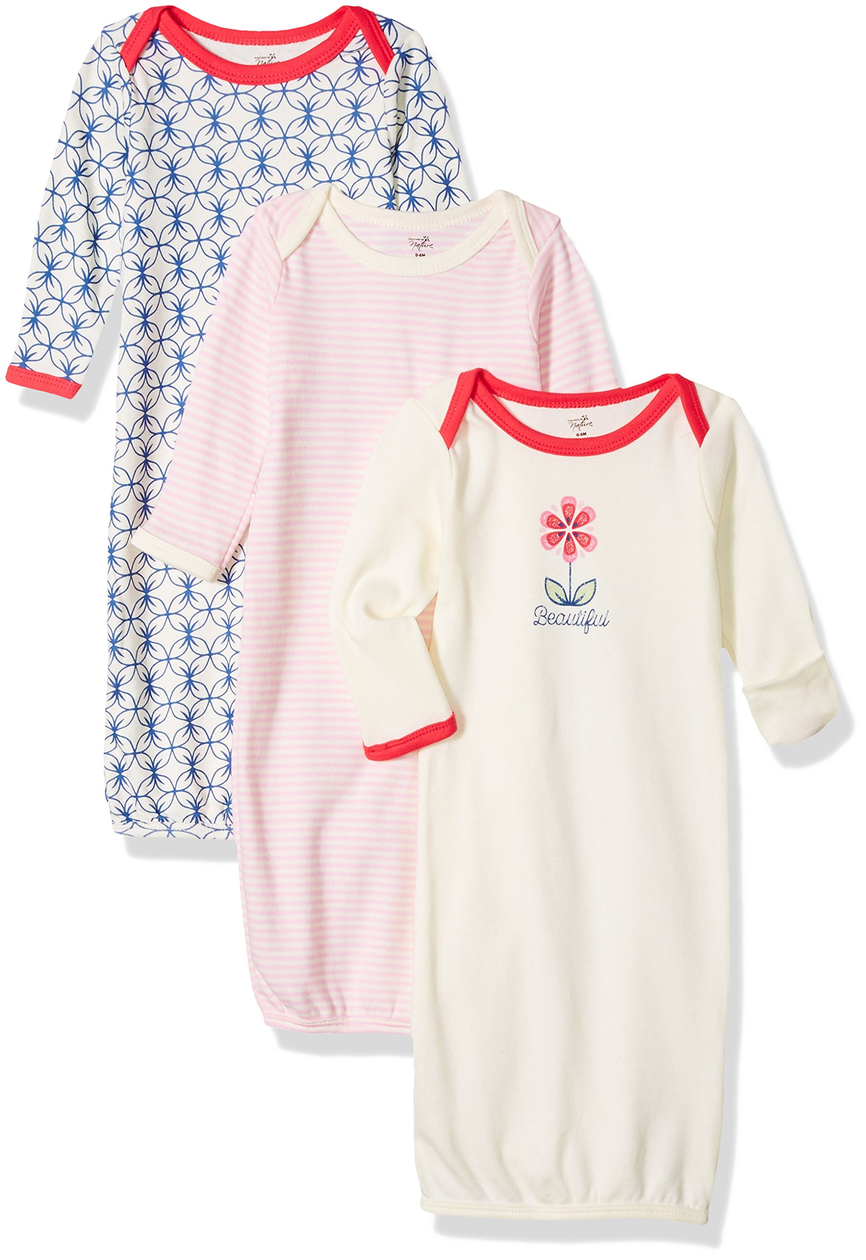 Touched by Nature Baby 3-Pack Organic Cotton Gown, Flower, 0-6 Months